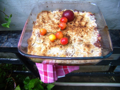 Peach, cherry and plum cobbler