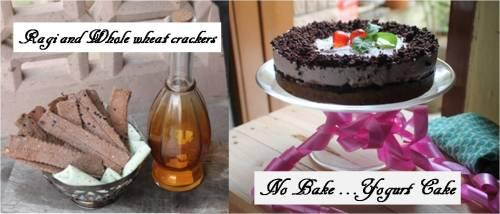 Chocolate yogurt cake and ragi and whole wheat crackers