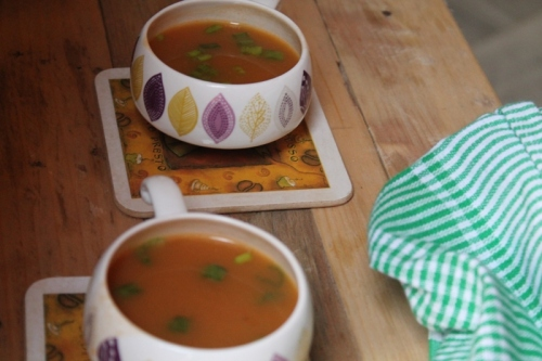 Pumpkin and mixed vegetable soup