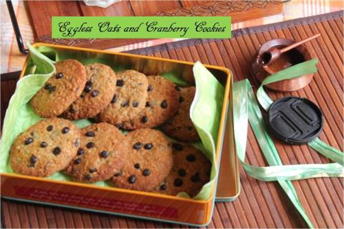 Eggless oats and Cranberry Cookies6