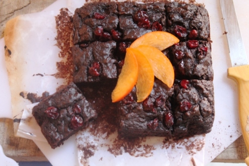 Eggless Persimmon and Cranberry Brownie