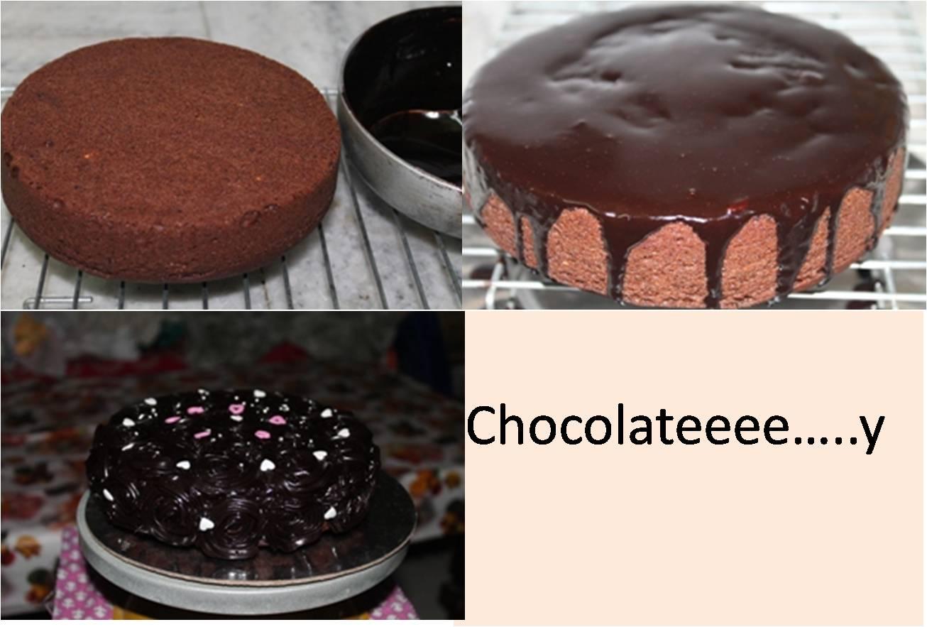 Eggless Chocolate Cake with ganache icing….on urgent call ...