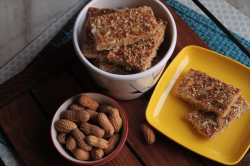Sesame, jaggery and honey bars