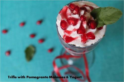 Trifle with pomegrante Molasses & yogurt