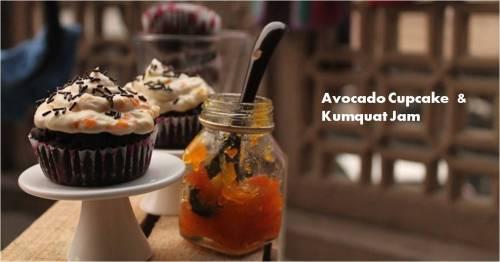 avocado cupcake & kumquat jam