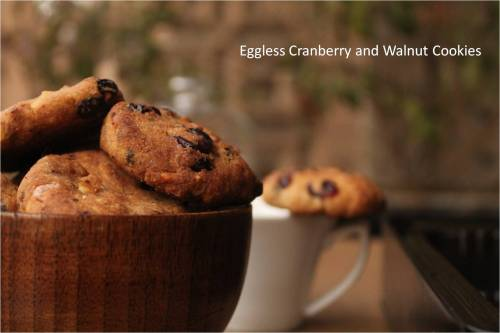 eggless cranberry and walnut cookies