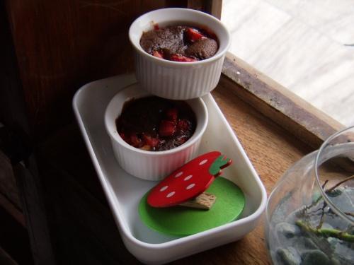 Choco Lava Cake with strawberry