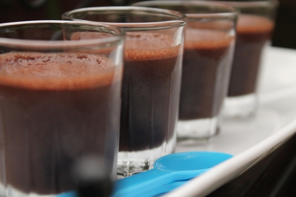 chocolate shots with almond paste