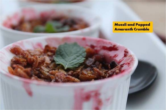 Muesli and popped amaranth crumble