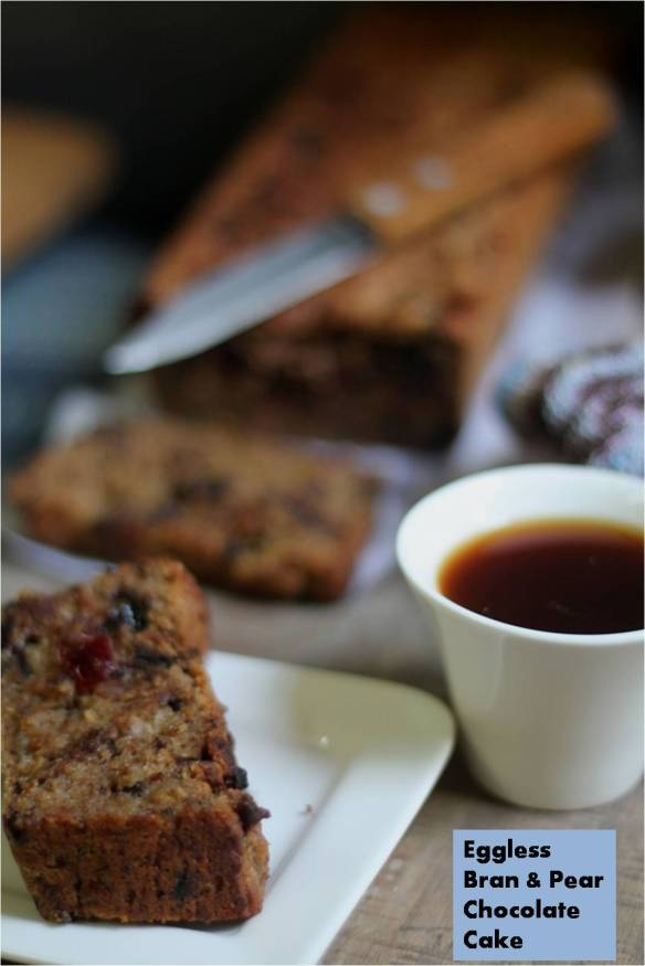 eggless bran & pear chocolate cake