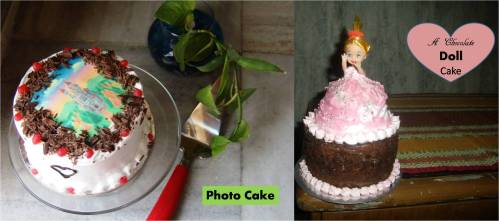 Doll and photo cake