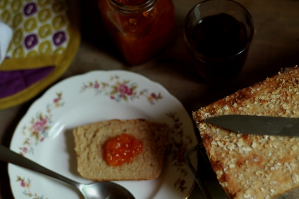 bread with homemade jam