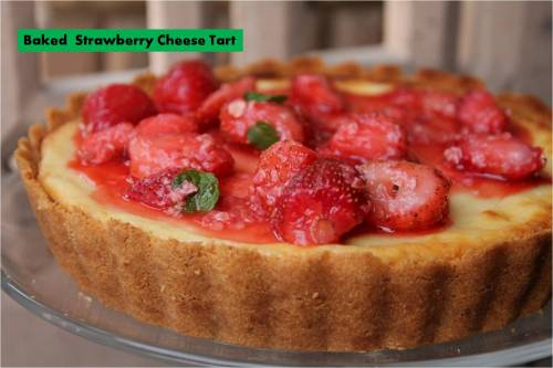 Baked strawberry Cheese Tart