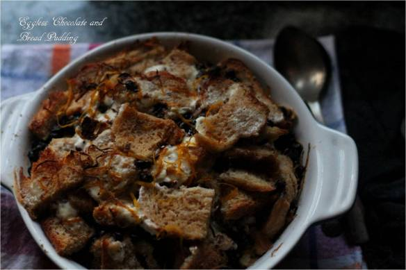 eggless chocolate and bread pudding
