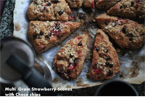 Multi grain strawberry scones with choco chips