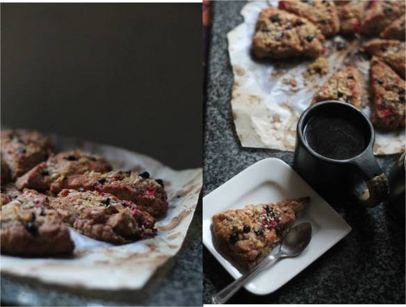 multigrain strawberry scones with choco chiips