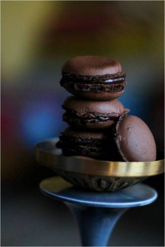 chocolate macaron with ganache
