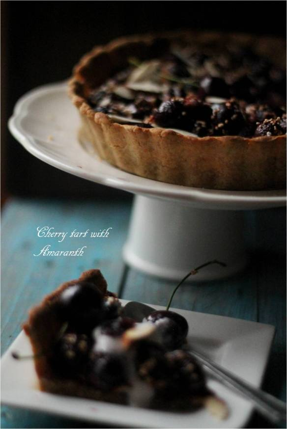 cherry tart with amaranth