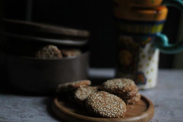 eggless sesame cookies