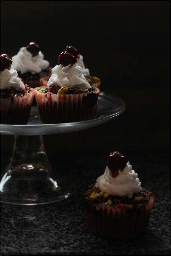 eggless black forest cupcake.