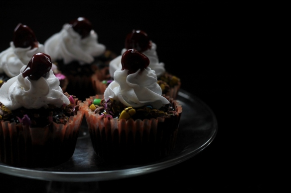 Eggless Black forest cupcake